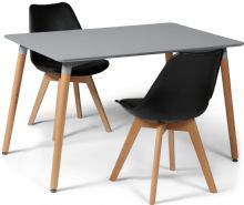 Toulouse Dining Set  - 120x80cms Grey Table & 2 Black Chairs